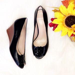 TORY BURCH Black Leather Wedge Peep Toe Heels